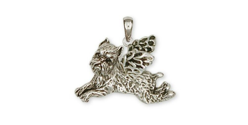 Brussels Griffon Angel Pendant Handmade Sterling Silver Dog Jewelry GF6-AP