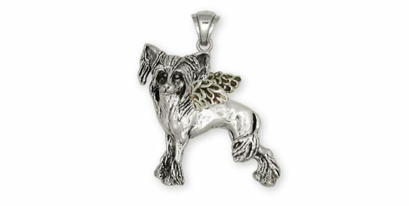 Chinese Crested Pendant Jewelry Sterling Silver Handmade Dog Pendant CC2-AO