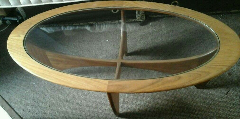 Original Vintage Oval Glass Top Atomic Coffee Table In Barnstaple