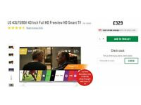 LG 43LF590V 43 Inch Full HD Freeview HD Smart TV + FREE STAND TV