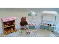 Sylvanian Family Doughnut + Ice Cream Stall Bundle Inc Figure (VGC). Selling Multiple Sets.