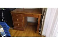 Solid pine desk with 3 drawers for sale
