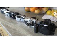 Job Lot 6x 35-MM Film Camera's Canon EOS SLR, Olympus, Konica, Ricoh
