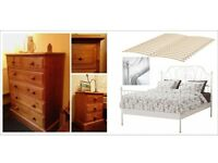 double bed frame, double mattress, chest of drawers