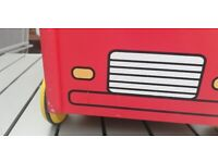 Wooden fire engine baby walker/toy storage