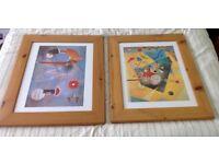 Pictures/ Paintings - Pair of Klee Paintings in Wooden Frames . Each 52 cm x 62 cm