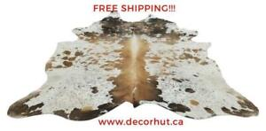 Cowhide Rug Imported From Brazilian Real, Free Shipping, Natural, Unique, Authentic, tapis peau de vache