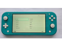Nintendo Switch Lite Turquoise Console and case.