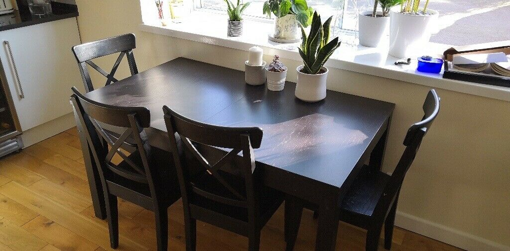 Black Ikea Bjursta Dining Table And 4 X Ikea Ingolf Dining Chairs In North West London London Gumtree