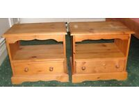 PAIR SOLID PINE BEDSIDE CABINETS WITH SHELF AND DRAWER