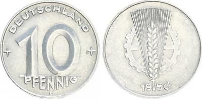 Fehlprägung 10 Pfennig 0 in Jahreszahl 1950 doppelt geprägt 1950 E DDR