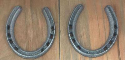 Raw Cast Iron Horseshoe Western Decor Craft Item Set of 2 Large