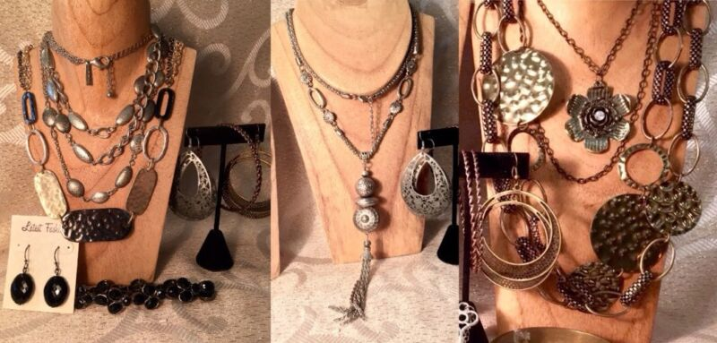 MIXED METAL Boho Jewelry Lot*Brass Bangle/Pewter*Chain Bib Necklaces*Earring a47
