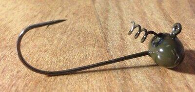 10ea.3//8oz.Gr.Pumpkin Screw Lock Shakey Head Jigs With 5//0 Hook