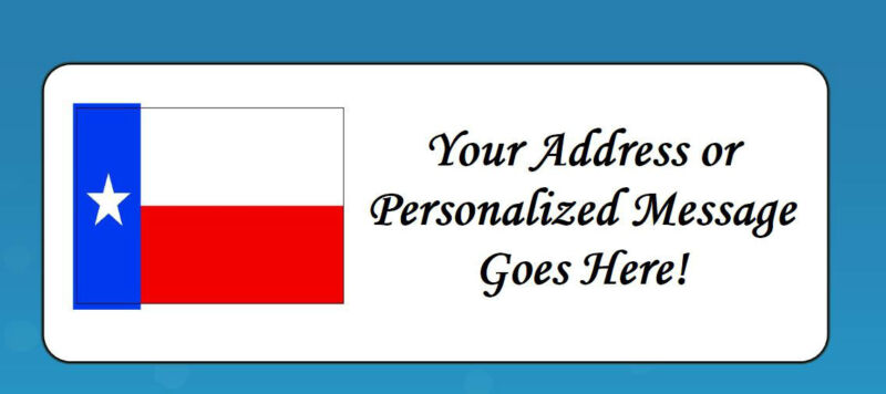 60 Personalized TEXAS STATE FLAG Address Labels Favors