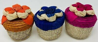 Wave Wicker Basket Alebrije Holder For Party Favor Folk Art Mexico Boho -