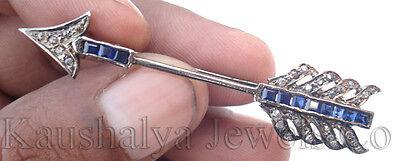 Victorian 0.73ct Rose Cut Diamond Blue Sapphire Engagement Arrow Brooch