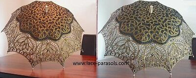 Black and Gold Battenburg Lace Umbrella - Black Lace Umbrella