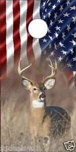 American Flag Deer Hunting in Field Cornhole Board Game Decal Wraps