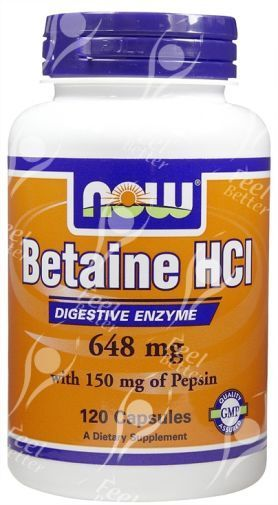 Now Foods Betaine HCI Verdauungs Enzyme - 648mg x120caps