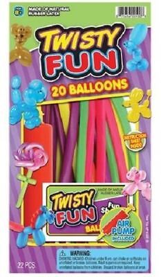 Twist Fun 20 Balloons Kit with Air Pump and Instructions to Create Fun Shapes