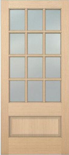 Exterior Hemlock Solid Wood Stain Grade French Doors 12 Lite Raised Bottom Panel