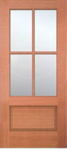 Exterior Meranti Mahogany 4 Lite Stain Grade Sash Solid Wood Entry Doors 6