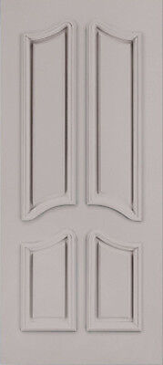 Custom Carved 4 Panel Double Arch Primed SolidCore Wood Doors W/ Raised Moulding