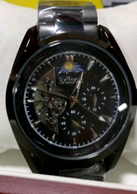 MEN'S EDISON AUTOMATIC MOONPHASE WATCH, STAINLESS STEEL BLACK STRAP