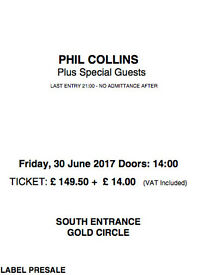 x2 GOLD CIRCLE tickets PHIL COLLINS Blondie Mike Mechanics Hyde Park BST Festival Friday 30th June