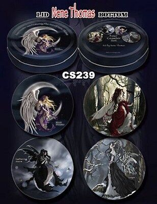Nene Thomas Fairy Fantasy Set of 4 Coasters Tin Box Faery Always Moon Dreamer +