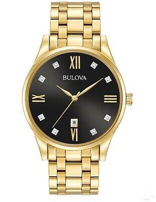 Bulova Men's Quartz Diamond Accent Date Indicator Gold-Tone 40mm Watch 97D108