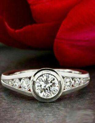 Wedding Engagement Ring Split Shank Bezel SEt 14k White Gold Over 1.50Ct -
