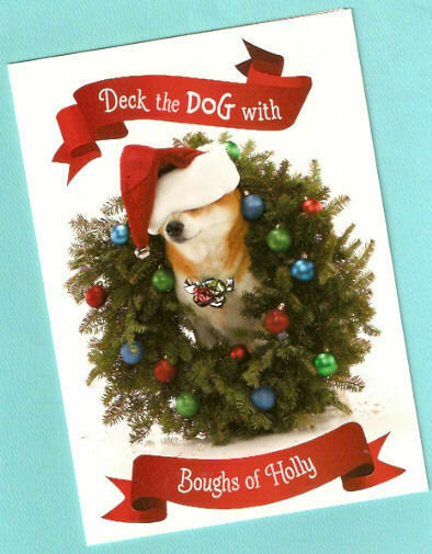 Corgi Christmas Cards Wreath Santa Hat Box of 15 Boughs of Holly*