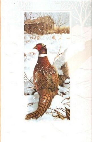 Pheasant Winter Iridescence Embossed Christmas Cards Box of 16