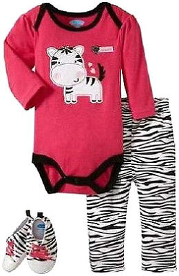 BON BEBE BABY Girl 3Pc Set Bodysuit Leggings Sneakers Shoes Infant 0-3 NEW ZEBRA
