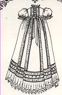 "12-13""ANTIQUE BABY DOLL FRENCH sew by machin CHRISTENING GOWN/DRESS PATTERN"