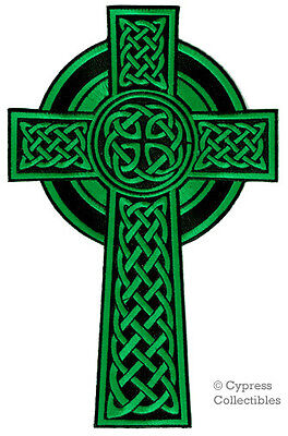 Celtic Religious Cross - LARGE CELTIC CROSS iron-on PATCH embroidered IRISH CHRISTIAN RELIGIOUS GREEN