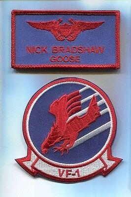 NICK GOOSE BRADSHAW TOP GUN MOVIE COSTUME US Navy Name Tag Squadron Patch Set