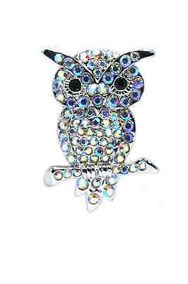 Clear Sparkling Crystals Owl Pin Brooch Pendant. AB