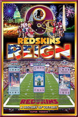 Washington Redskins 3 Time Super Bowl Champions Official Nfl History Poster