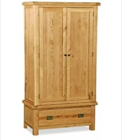 Classic Rustic Oak Wardrobe. H 1980mm , W 1070mm , D 570mm.