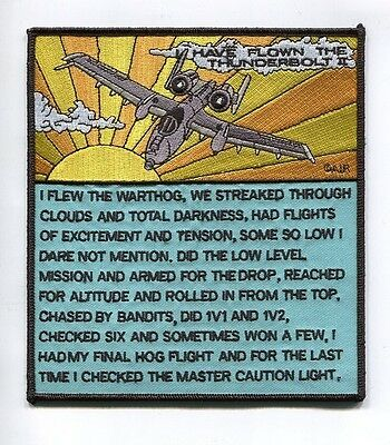 REPUBLIC A-10 THUNDERBOLT II  WARTHOG I HAVE FLOWN USAF SQUADRON PATCH