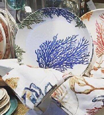 "Pottery Barn Set 4 Under The Sea Dinner Plates Blue Coral 11"" Round NIB"