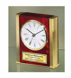 Desk Clock Twin Gold Brass Sides Wood Base Personalized Engraved GIft Award Grad