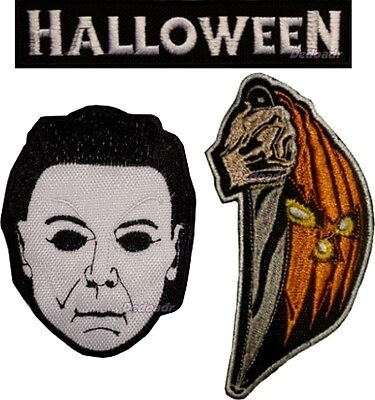 Set of Halloween Embroidered Patches Horror Movie Logo Michael Myers Mike Mask