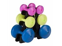 Multi-colour Dumbell Weight Set and Weight Stand