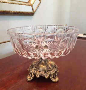 """Collectible Crystal Bowl on brass/bronze pedestal, 1970s, 8"""" dia"""
