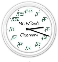 Square Root Math Teacher Classroom PERSONALIZED Wall Clock Office - GIFT