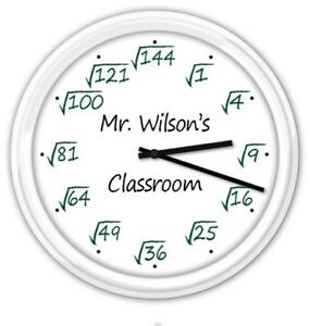 Square Root Math Teacher Classroom PERSONALIZED SILENT Wall Clock Office - GIFT